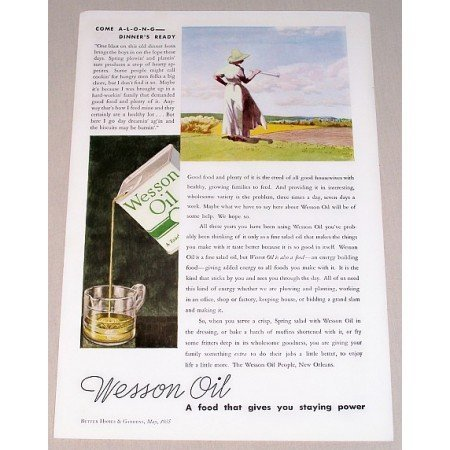 1935 Wesson Oil Color Print Ad - Come Along Dinners Ready