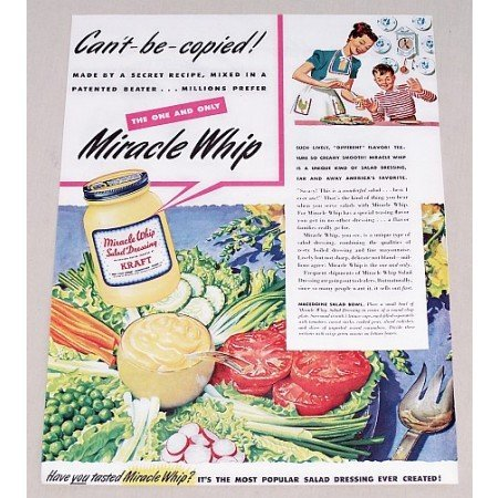 1947 Miracle Whip Salad Dressing Color Print Ad - Can't Be Copied