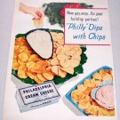 1957 Philadelphia Cream Cheese 9 Dip Recipes 2 Page Color Print Ad
