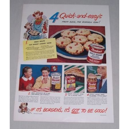 1949 Borden's Eagle Brand Milk Cherry Tarts Recipe Color Print Ad