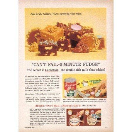 1958 Carnation Milk 5 Minute Fudge Recipe Color Print Ad