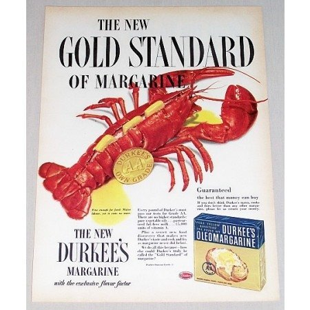 1952 Durkee's Oleomargarine Color Lobster Seafood Art Ad