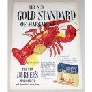1952 Durkee's Oleomargarine Color Lobster Seafood Art Ad