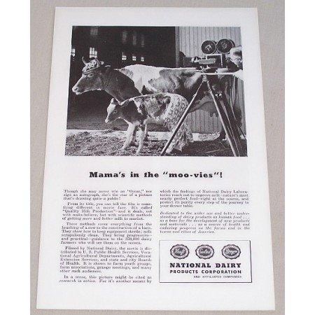 1946 National Dairy Products Corporation Cow Animals Print Ad - Mama's Moo-vies