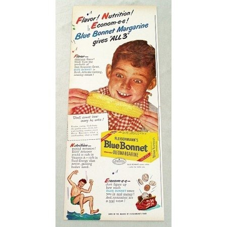1947 Fleischmann's Blue Bonnet Oleomargarine Corn on the Cob Food Color Ad