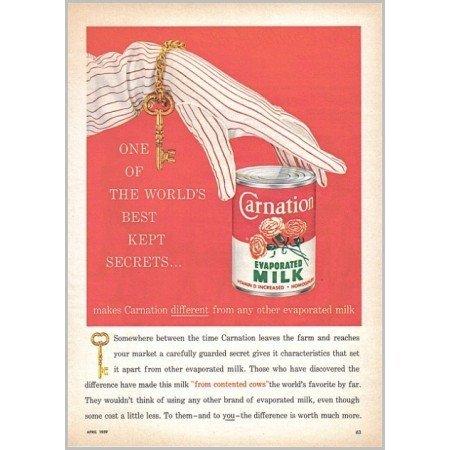 1959 Carnation Evaporated Milk Color Art Print Ad - Best Kept Secrets..