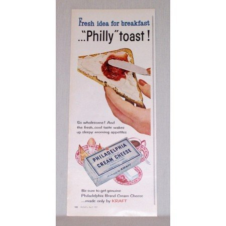 1957 Philadelphia Cream Cheese Philly Toast Color Print Ad