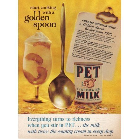 1962 Pet Evaporated Milk Color Print Ad - Golden Spoon