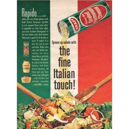 1962 Kraft Grated Parmesan Cheese Color Print Ad - Rapido