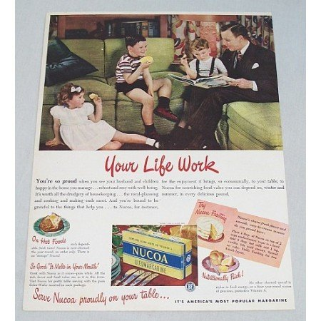 1947 Nucoa Oleomargarine Color Print Ad - Who Counts Most?