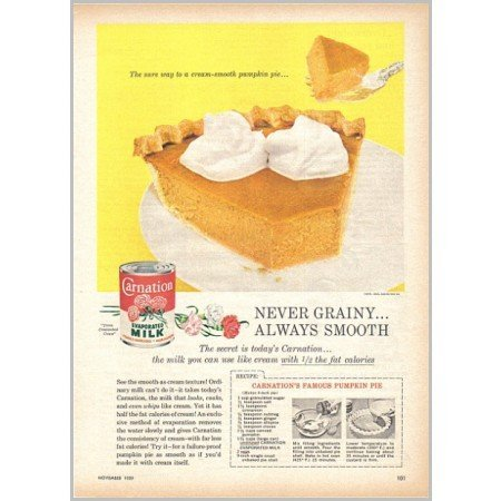 1959 Carnation Milk Pumpkin Pie Recipe Color Print Ad