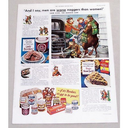 1949 Borden's Dairy Products Elsie Cow Art Color Print Ad - Men Are Worse Naggers
