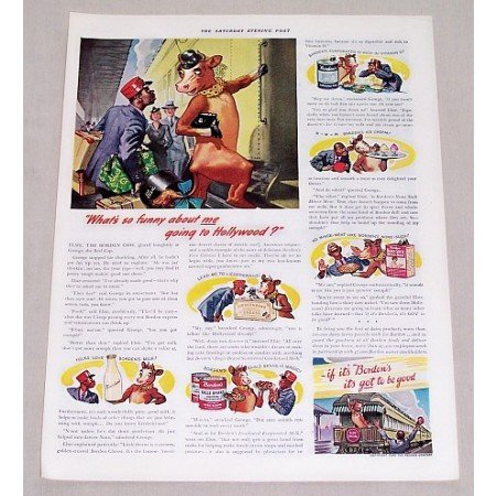 1940 Borden's Milk Elsie Cow Art Color Print Ad - Elsie Going To Hollywood