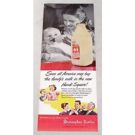 1947 Duraglas Handi-Square Milk Bottle Color Print Ad