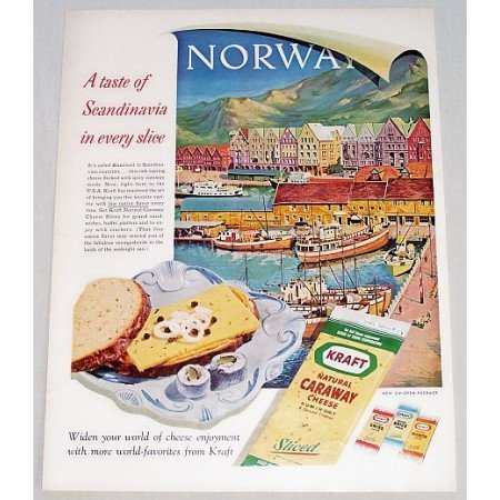 1961 Kraft Caraway Cheese Norway Art Color Print Ad