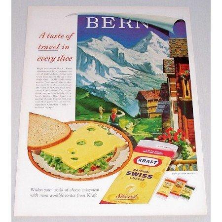 1961 Kraft Natural Swiss Cheese Bern Art Color Print Ad