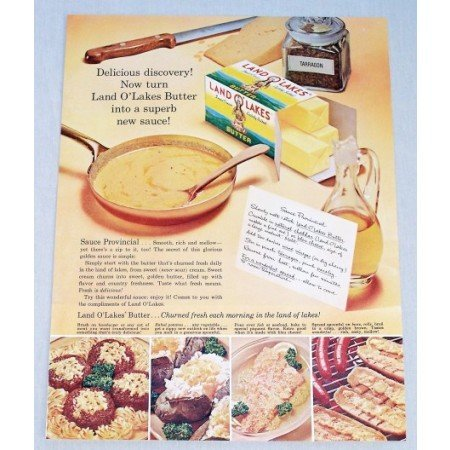 1962 Land O Lakes Butter Color Print Ad - Delicious Discovery