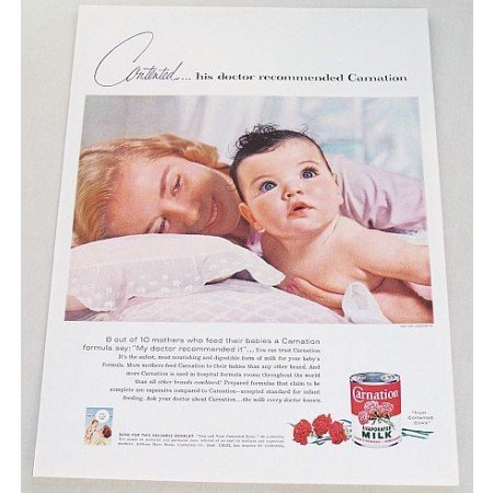 1957 Carnation Evaporated Milk Mother Child Color Print Ad