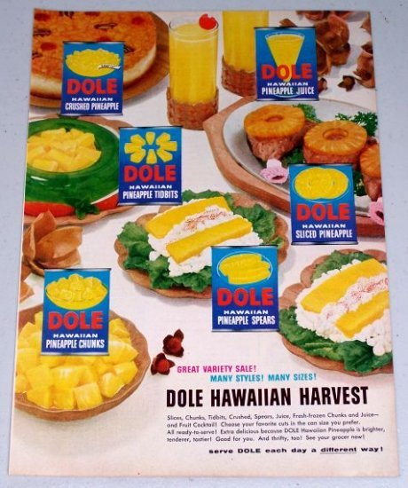 1954 Dole Hawaiian Harvest Fruit Products Vintage Color Food Print Ad