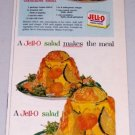 1954 Jello Gelatin Dessert Vintage Color Print Ad Carrot Cucumber Salad Recipe