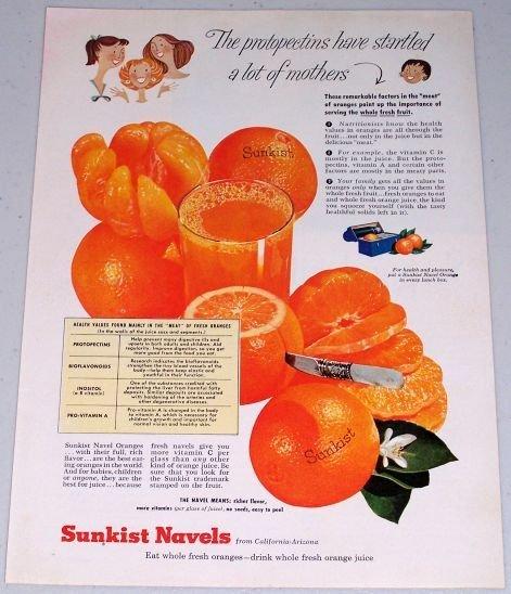 1955 Sunkist Navel Oranges Color Art Fruit Print Ad