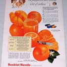 1955 Sunkist Navel Oranges Color Art Fruit Print Ad