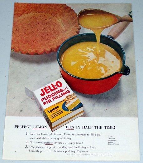 1955 Jello Pudding Pie Filling Lemon Pie Color Food Ad