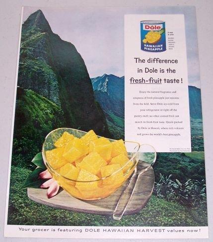 1960 Dole Hawaiian Pineapple Fresh Fruit Windward Oah Hawaii Color Print Ad