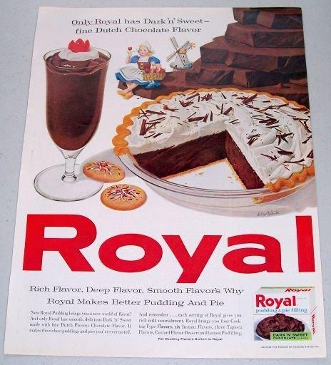 1960 Royal Pudding Pie Filling Color Art Print Ad