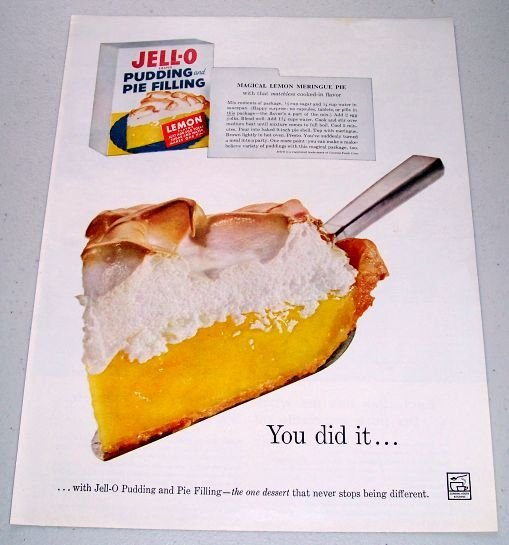 1960 Jello Pudding Pie Filling Magical Lemon Meringue Pie Recipe Color Print Ad