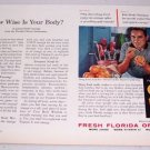 1957 Fresh Florida Oranges Color Print Ad Golf Celebrity Doug Ford