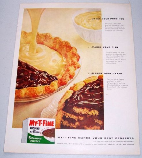 1957 My-T-Fine Pudding Pie Filling Color Print Ad