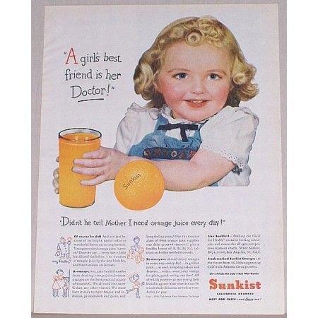 1944 Sunkist Oranges Color Print Ad - Girls Best Friend Is Doc