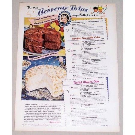 1949 Betty Crocker Cakes Color Print Ad - Try Our Heavenly Twins