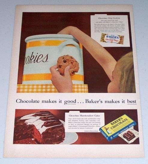1954 Baker's Chocolate Cookie Jar Color Print Ad