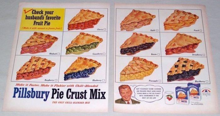 1953 Pillsbury Pie Crust Mix 2 Page Color Fruit Pies Print Ad