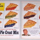 1953 Pillsbury Pie Crust Mix 2 Page Color Fruit Pies Print Ad