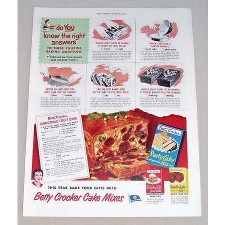 1951 Betty Crocker Party Cake Mix Color Print Ad