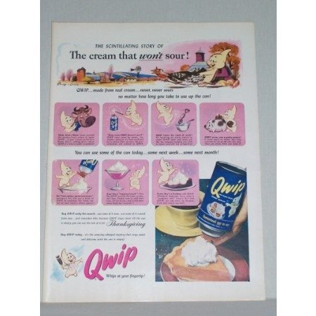 1953 Qwip Dessert Topping Color Print Ad - Scintillating Story