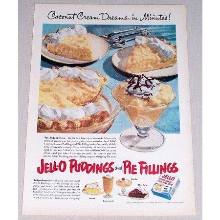 1952 Jello Pudding Color Print Ad - Coconut Cream Dreams