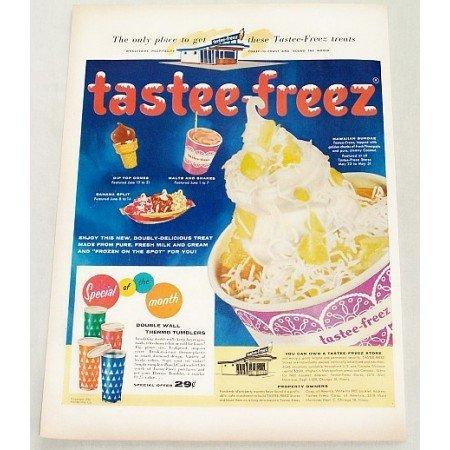 1956 Tastee Freez Treats Sundaes Shakes Color Print Ad