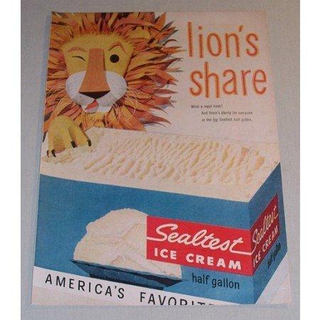 1955 Sealtest Ice Cream Lion Animal Art Color Print Ad - Lion's Share