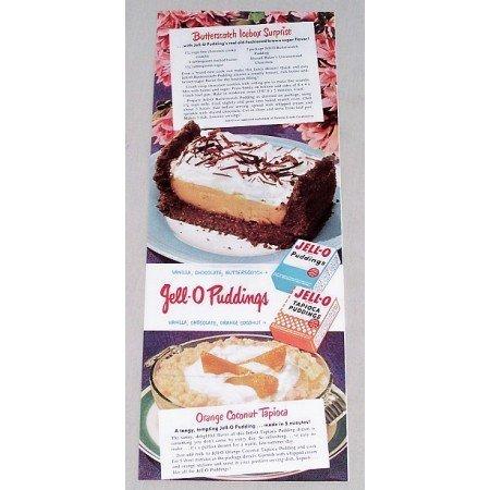 1949 Jello Pudding Butterscotch Icebox Suprise Recipe Color Print Ad
