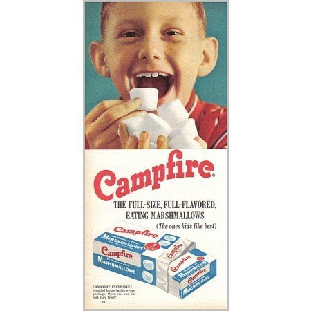 1959 Campfire Marshmallows Color Print Ad - Kids Like Best