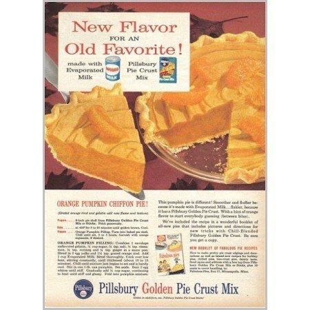 1959 Pillsbury Pie Crust Pumpkin Chiffon Pie Recipe Color Print Ad