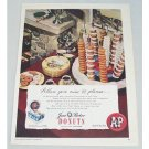 1947 AP Jane Parker Donuts Color Print Ad - Aim To Please