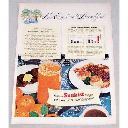 1947 Sunkist Oranges New England Breakfast Color Print Ad
