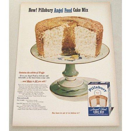 1952 Pillsbury Angel Food Cake Mix Color Print Ad