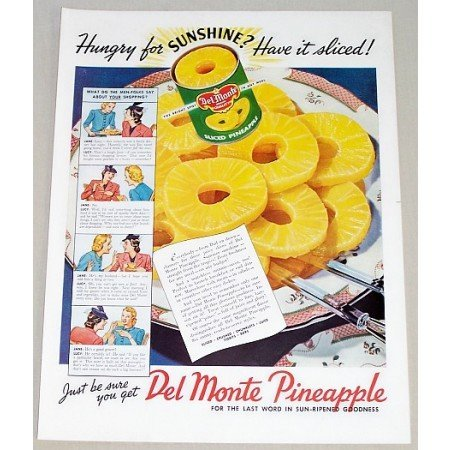 1941 Del Monte Pineapple Color Print Ad - Hungry For Sunshine