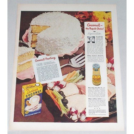 1948 Durkee's Coconut Coconut Frosting Recipe Color Print Ad